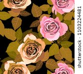 seamless pattern with roses.... | Shutterstock .eps vector #1103224481