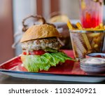 close up of home made burgers | Shutterstock . vector #1103240921