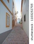 empty street at sunset in... | Shutterstock . vector #1103252705