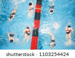 young swim team warming up in... | Shutterstock . vector #1103254424