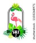 summer card with flamingo  arch ... | Shutterstock .eps vector #1103268971