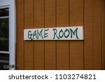 game room sign on wood painted...   Shutterstock . vector #1103274821