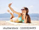 sexy girl with sunglasses... | Shutterstock . vector #1103324495