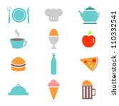 colorful food icons set | Shutterstock .eps vector #110332541