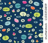 stylized water lilies pattern... | Shutterstock .eps vector #1103353859