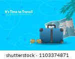 travel suitcase with different... | Shutterstock .eps vector #1103374871
