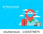 travel suitcase with different... | Shutterstock .eps vector #1103374874