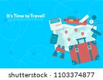 travel suitcase with different... | Shutterstock .eps vector #1103374877