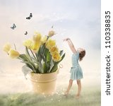 Little Girl with Big Flowers (Fantasy) - stock photo
