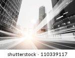 the light trails on the modern... | Shutterstock . vector #110339117