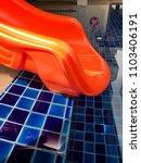 an orange slider on the side of ... | Shutterstock . vector #1103406191