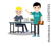 a couple of young student. work ...   Shutterstock . vector #1103407031