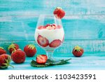 homemade yogurt with fresh... | Shutterstock . vector #1103423591