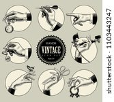 set of round icons in vintage... | Shutterstock .eps vector #1103443247