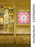 Small photo of MILAN, ITALY - CIRCA NOVEMBER, 2017: goods on display in Versace store at Galleria Vittorio Emanuele II.