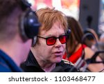 "Small photo of Kyiv, Ukraine 2018 - May 28. Elton John communicates with journalists on the live radio ""radio HIT FM"" at the charity festival - Kurazh Bazar, organized by the Elena Pinchuk Foundation."