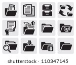 vector black folder icons set...