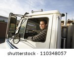 middle aged man driving truck | Shutterstock . vector #110348057