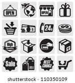 vector black shopping icons on...