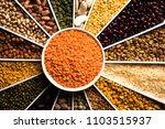 indian beans pulses lentils...   Shutterstock . vector #1103515937