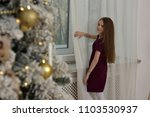 girl by the window next to the... | Shutterstock . vector #1103530937