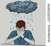 sad man under a cloud  young... | Shutterstock .eps vector #1103533454