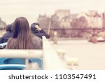 young woman in a river tram...   Shutterstock . vector #1103547491