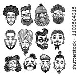 set of bearded men faces of... | Shutterstock .eps vector #1103564315