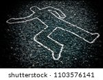 Crime Scene With Body Outline...