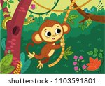 cute monkey boy swinging on a... | Shutterstock .eps vector #1103591801