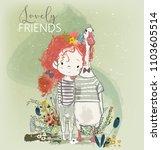 cute little girl with goose | Shutterstock .eps vector #1103605514