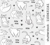 hand drawn various cats.... | Shutterstock .eps vector #1103631161
