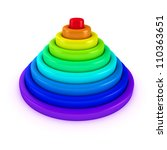 Toy pyramid with rings of rainbow colors - stock photo