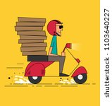 pizza delivery courier boy... | Shutterstock .eps vector #1103640227