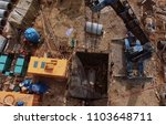 Small photo of A platform with equipment for pipeline operations. Pipe penetration. Pipes of a gas pipeline, construction and laying of pipelines for transportation of gas and oil.