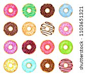 sweet donuts set. cute small... | Shutterstock .eps vector #1103651321