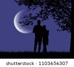 two lovers embracing and... | Shutterstock .eps vector #1103656307