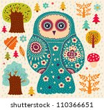 vector illustration with owl