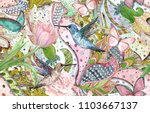Stock photo fashion seamless texture with ethnic floral ornament and hummingbirds watercolor painting 1103667137