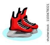 black  red hockey skates on ice.... | Shutterstock .eps vector #1103678321