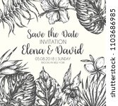 save the date tropical leaves... | Shutterstock . vector #1103686985