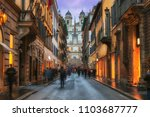 evening view of old cozy street ... | Shutterstock . vector #1103687777