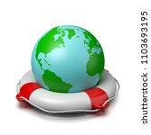 world planet on a lifebuoy on... | Shutterstock . vector #1103693195