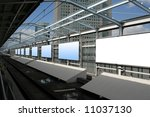Blank billboards in a subway station - stock photo