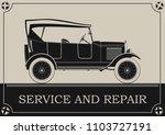 vintage car service banner.... | Shutterstock .eps vector #1103727191