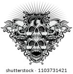 gothic coat of arms with skull  ... | Shutterstock .eps vector #1103731421