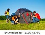 teens setting a camping tent | Shutterstock . vector #110373797