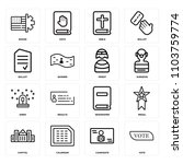set of 16 icons such as vote ...