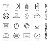 set of 16 icons such as checked ...