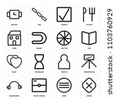 set of 16 icons such as cancel  ... | Shutterstock .eps vector #1103760929